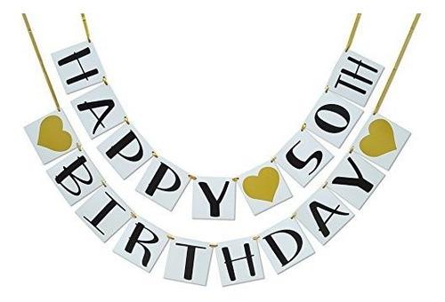 Imagen 1 de 5 de Feliz Cumpleaños 50 Banner Corazones De Oro Y Decoraciones