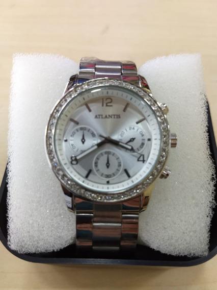 Relógio Original Atlantis Gold Feminino Prata Frete Gratis