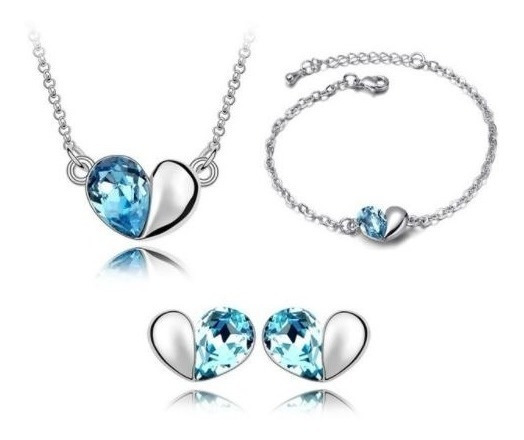 Set Swarovski Elements Collar Aretes Pulsera Medio Corazón