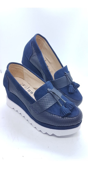 Zapatos Colombianos Para Dama Mocasin Suela Alta Azul Marino