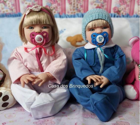 2 Bebê Verdade Realista Reborn Casal Menino Boneco Gêmeos