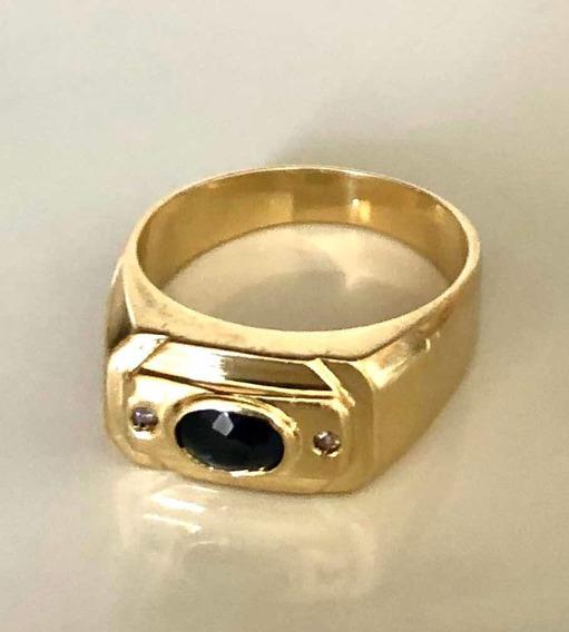 Anel De Ouro 18k 750 Com Pedra Safira E Diamantes 8 Gramas