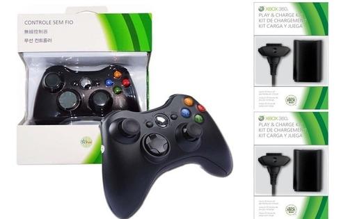 Imagem 1 de 6 de Controle Xbox 360 Wireless Sem Fio + 2 Bateria Cabo Usb