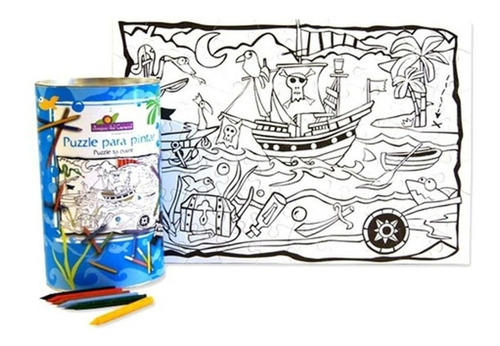 Imagen 1 de 3 de Rompecabezas Para Pintar Piratas 70 Pzs Juegos Del Caracol