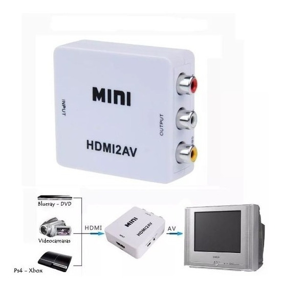 Adaptador Conversor Hdmi Para Av 3 Rca Audio Video Tv Box