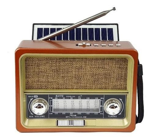 Rádio Retro Vintage Fm Am Usb Sd Bluetooth Bateria Solar