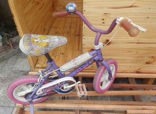 Bicicleta Nena Bmx Rodado 12 O 14 C/rueditas Rapunzel