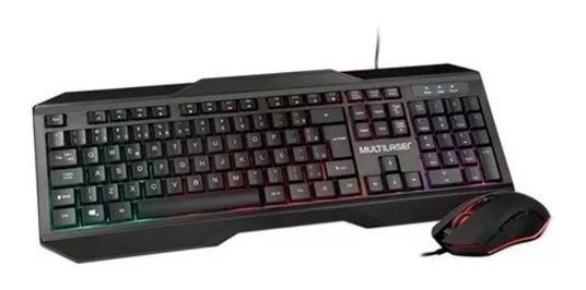 Kit Teclado Mouse 2400dpi Gamer Multilaser Warrior Led Tc239