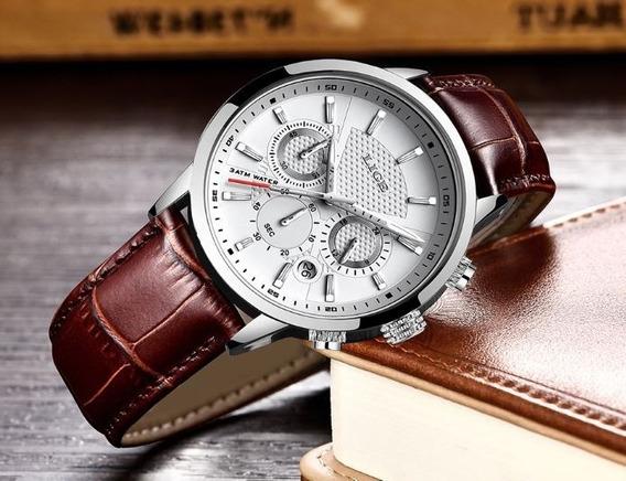 Relógio Pulso Luxo Adulto Masculino Branco Lige