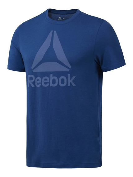 Reebok Remera M/c Qqr Stacked Hombre Azul