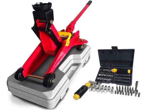 Imagem 1 de 9 de Macaco Jacarézinho Hidraulico 2t C/maleta Ferramentas Estepe