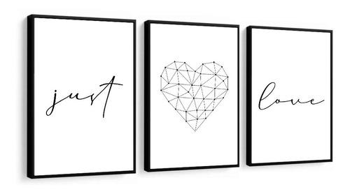 Quadro Decorativo Frase Just Love Amor Preto E Branco Sala