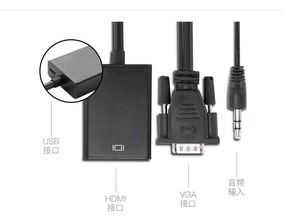 Kit Conversor Adaptador Vga P/hdmi C/áudio Pc Tv + Cabo Hdmi