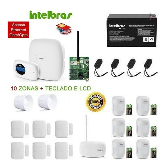 Kit Completo Central Alarme Intelbras Amt 4010 Xeg 4000 Big+