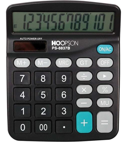 Calculadora De Mesa 12 Dígitos Pilha Solar Preta