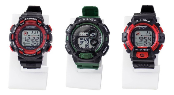 3 Relógios Infantil Masculino Esportivo Digital Prova D