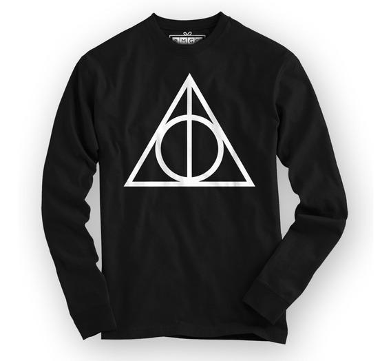 Camiseta Manga Longa Harry Potter Reliquias Da Morte Magia