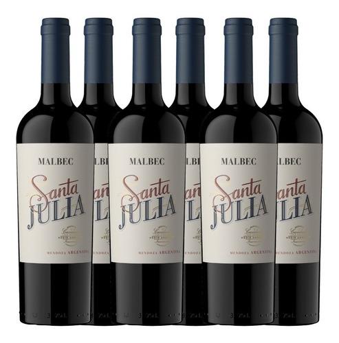 Imagen 1 de 3 de Vino Santa Julia Malbec 750ml - Tinto - Caja X 6 Botellas