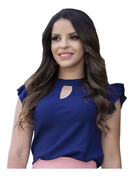Blusinha Viscose Azul Marin Gota   Ingrid - Moda Evangélica
