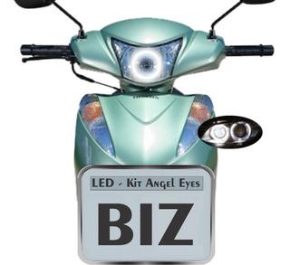Kit Com 1 Angel Eyes Led Farol Moto Honda Biz 100 125