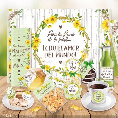 Kit Imprimible Desayuno Dia De La Madre Girasoles Watercolor