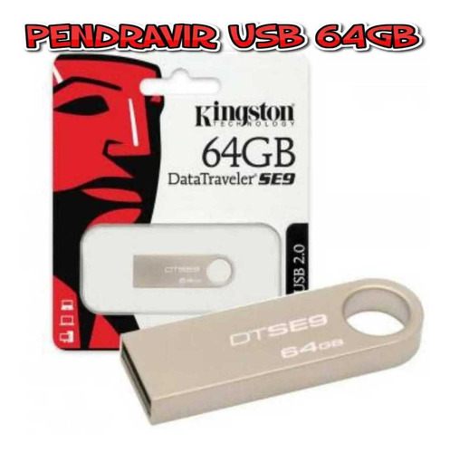 Flash Memory - Pen Drive Metalica De 64 Gb 2.0