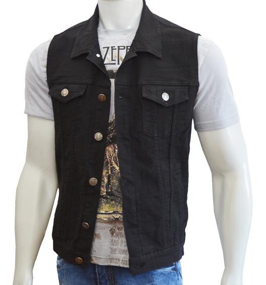 Colete Jeans Masculino Preto Com 6 Bolsos