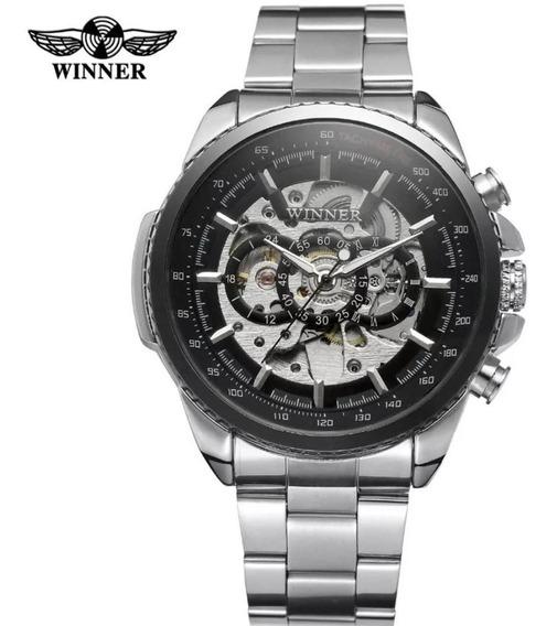 Relógio Masculino Prata Presente Inox Automatico Esqueleto