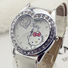 Relógio Infantil Adulto De Pulso Hello Kitty Coração-branco