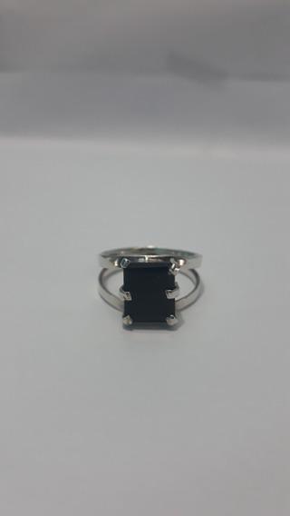 Anel Em Prata 950 Com Pedra Onix Negra ( $180,00 )