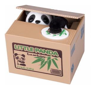 Alcancía Panda Roba Monedas Con Sonido Caja Bambú