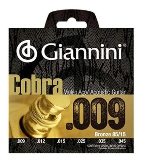 Encordoamento Cordas Giannini Violão Aço Cobra 09 Geewak