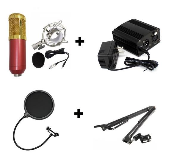 Microfone Condensador Pedestal Articulado Pop Filter Fonte