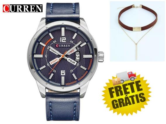 Relógio De Pulso Masculino Curren 8211+ Brinde- Frete Grátis