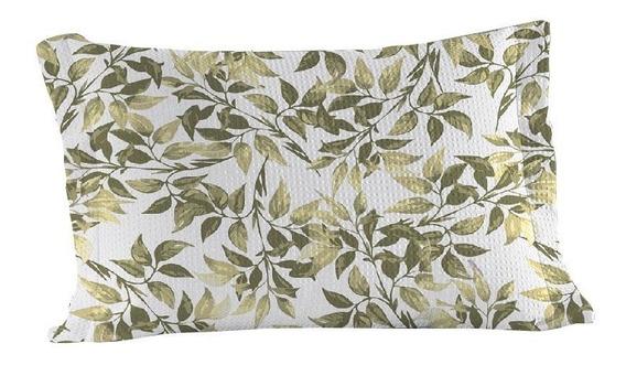 Porta Travesseiro Teka Folhas Clarice 50x70cm