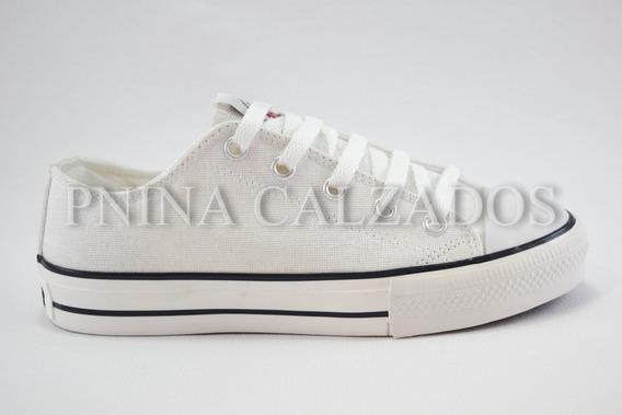 Zapatilla Lona Baja Simil Converse Blanca 26 Al 40
