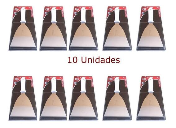 Kit Com 10 Espátulas Reta 12cm Inox Para Cozinha Em Geral