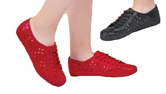 Calzado Zapato Piso Dama Mujer Color Rojo Y Negro Troquelado