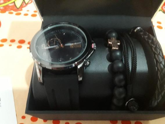 Relógio American Exchange Prata E Preto Com Pulseiras
