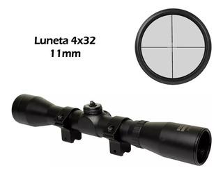 Luneta Para Espingarda Carabina Sniper Rossi Poly 4x32 11mm