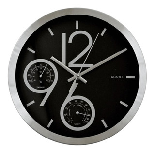 Reloj Pared 25 Cm Temperatura Humedad Hogar Tienda Pepino