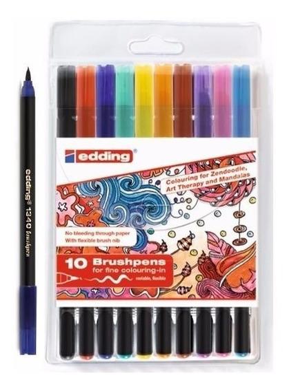 Marcador Edding 1340 Brushpens P/pintar Mandalas X10 Colores