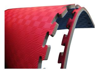 Tatami Fire Sports Piso Bicolor Económico Rojo-azul