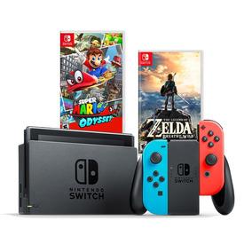 Nintendo Switch 32gb Neon Blue Red + Mario Odyssey + Zelda