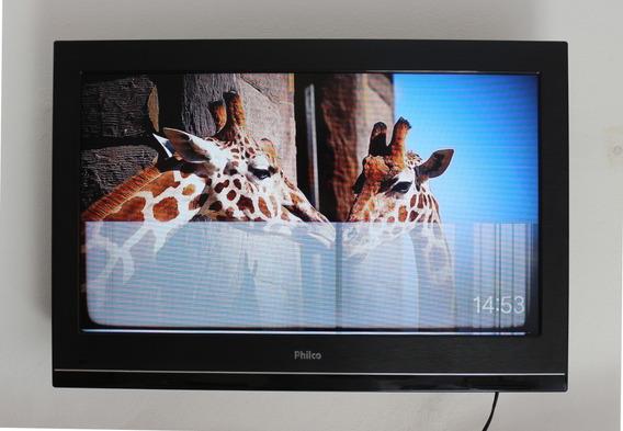 Tv 32 Philco + Controle + Base Suporte - Faixa Na Imagem