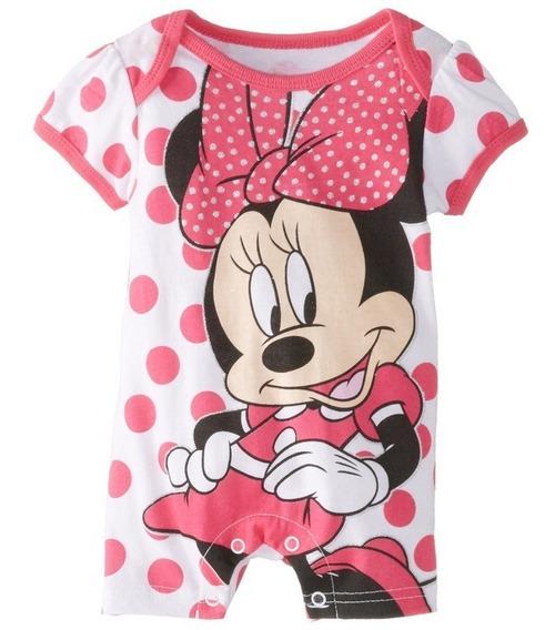 Romper Macacão Curto Bebê Menino Menina Mickey Minnie Polo