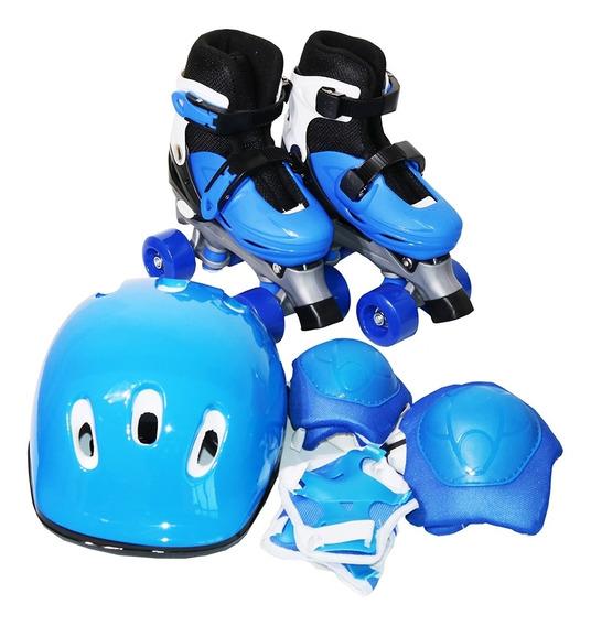 Patins Masculino Feminino 4 Rodas Ajustável C/ Kit Proteção