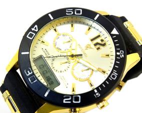 Relógio De Pulso Potenzia Masculino Dourado Com Preto B5667