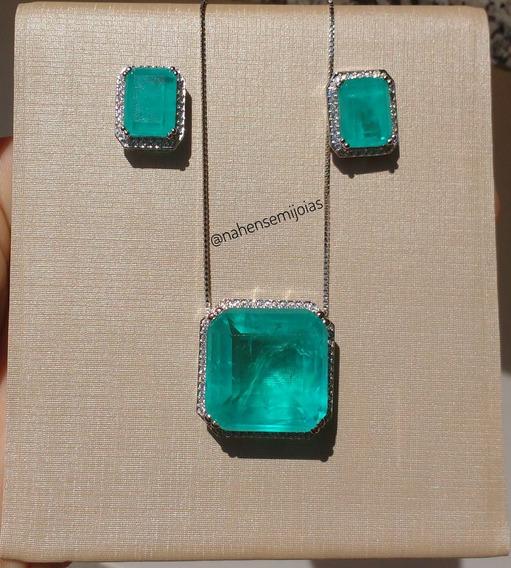 Conjunto Luxuoso Semijoia Turmalina Azul Fusion Premium