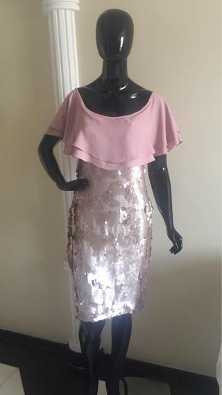 Vestido Paetê Disponível Na Cor Nude E Rosê,42/44 E 46